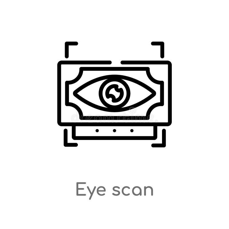 概述眼睛扫描传染媒介象 被隔绝的黑简单的从未来技术概念的线元例证 编辑可能的传染媒介 向量例证
