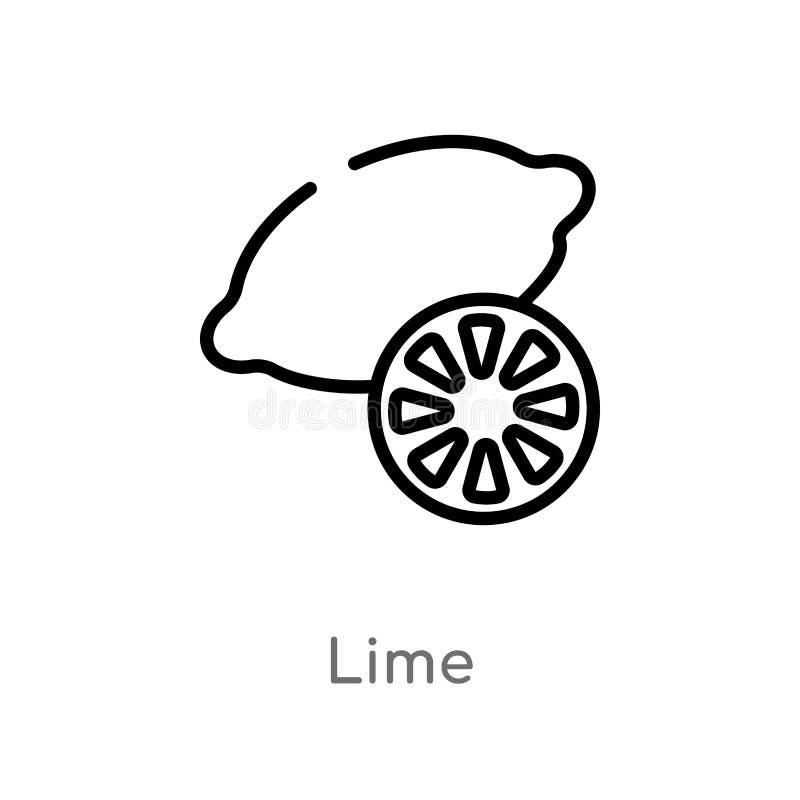 概述石灰传染媒介象 被隔绝的黑简单的从美食术概念的线元例证 编辑可能的传染媒介冲程石灰 皇族释放例证