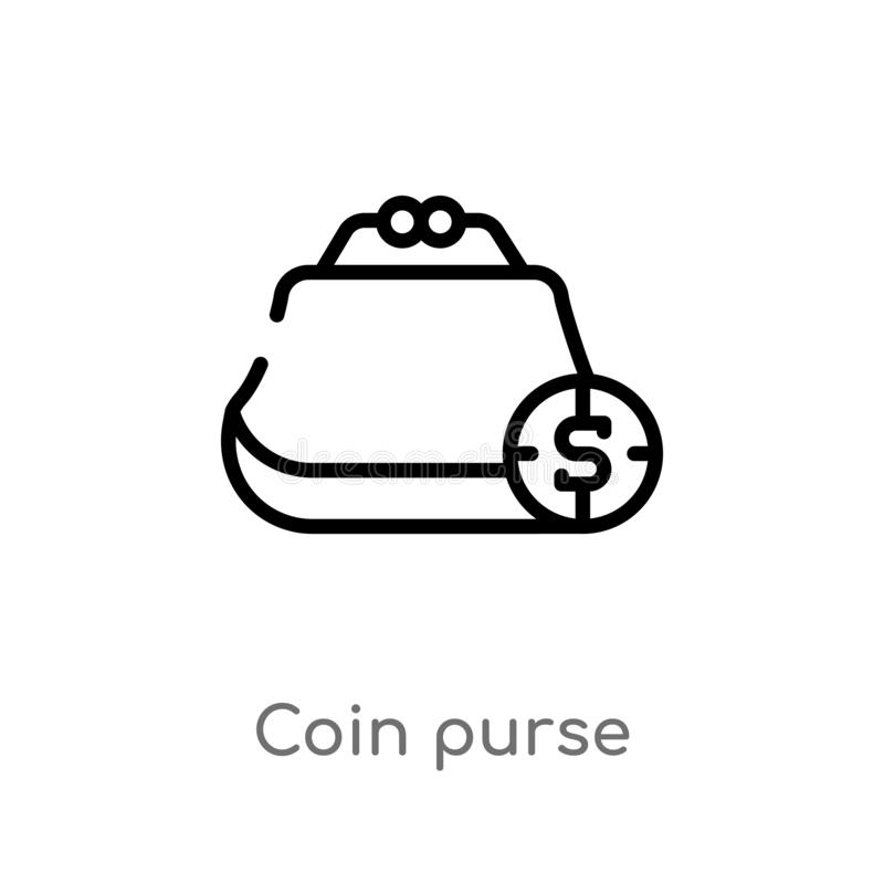 概述硬币钱包传染媒介象 E 编辑可能的传染媒介冲程硬币 库存例证