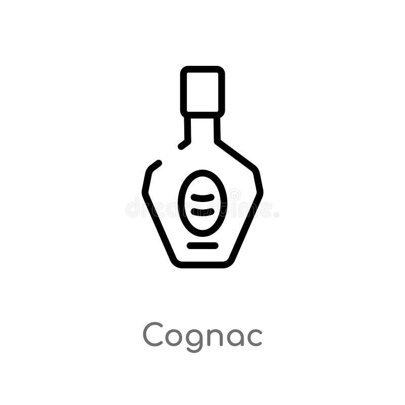 概述科涅克白兰地传染媒介象 被隔绝的黑简单的从饮料概念的线元例证 编辑可能的传染媒介冲程科涅克白兰地 向量例证