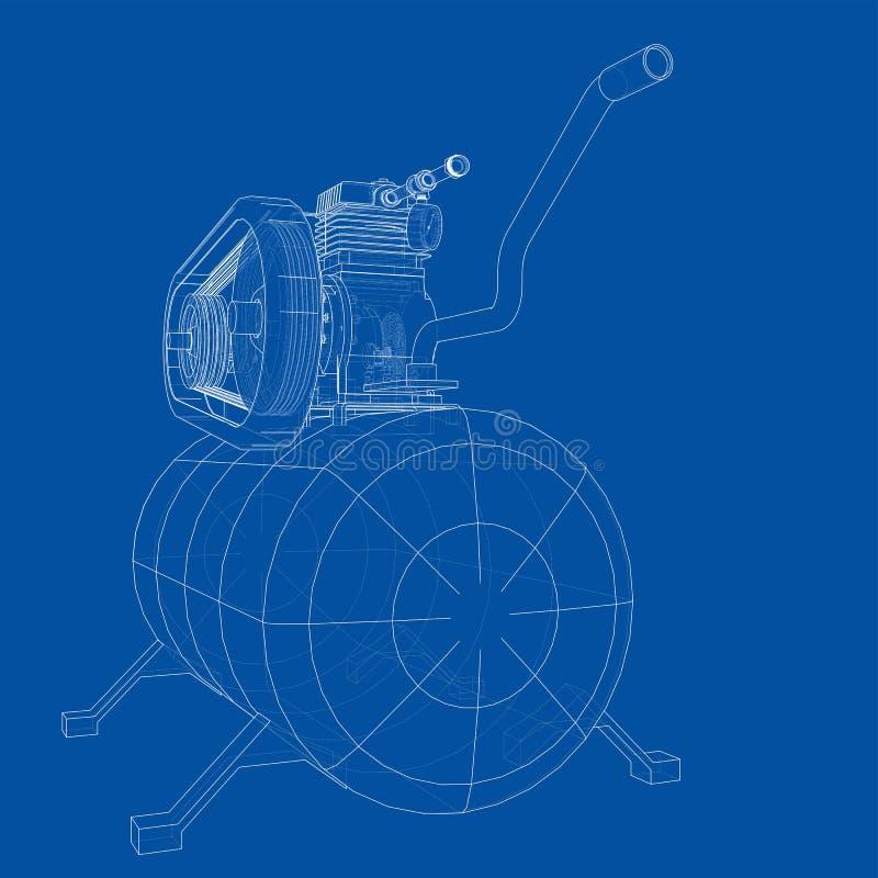 概述空气压缩机 ?? 向量例证