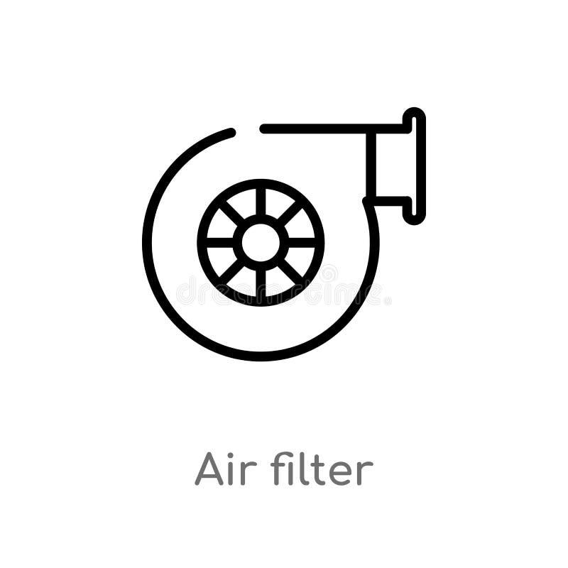 概述空气过滤器传染媒介象 被隔绝的黑简单的从运输概念的线元例证 编辑可能的传染媒介 向量例证