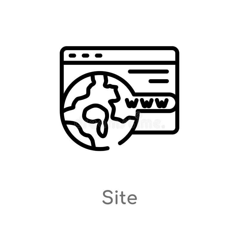 概述站点传染媒介象 被隔绝的黑简单的从seo &网概念的线元例证 编辑可能的传染媒介冲程站点象 向量例证