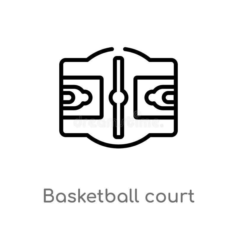 概述篮球场传染媒介象 被隔绝的黑简单的从体育概念的线元例证 编辑可能的传染媒介冲程 皇族释放例证