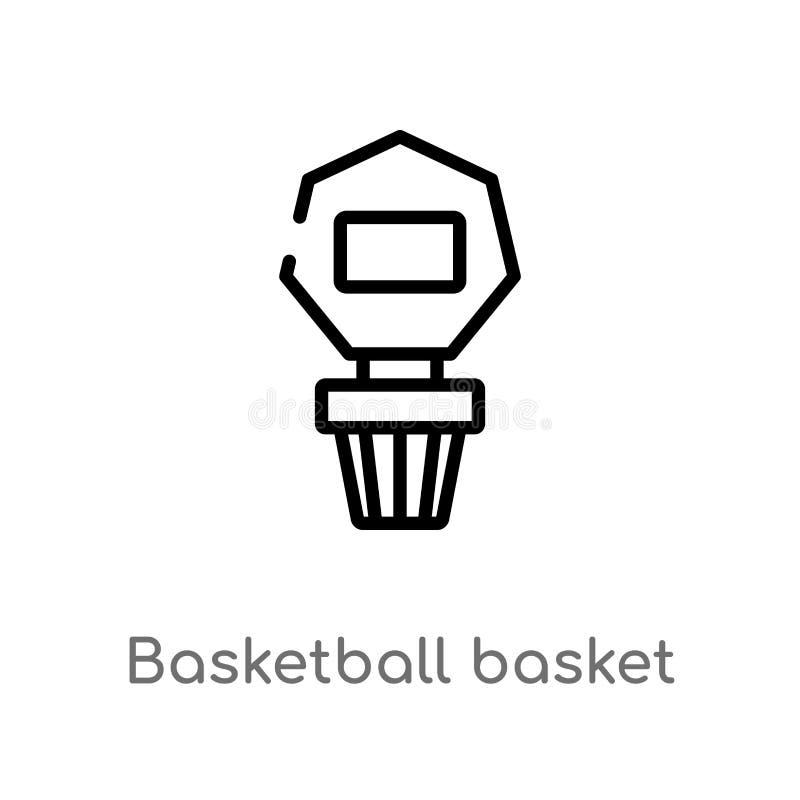 概述篮球篮子传染媒介象 被隔绝的黑简单的从体育概念的线元例证 编辑可能的传染媒介冲程 皇族释放例证