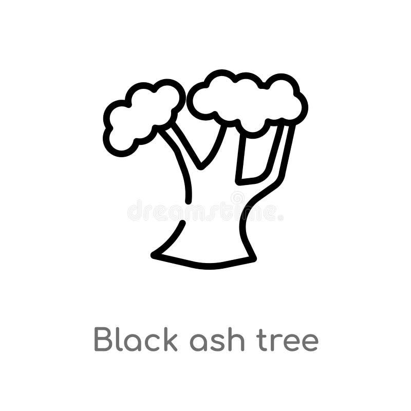 概述粗碳酸钠树传染媒介象 被隔绝的黑简单的从自然概念的线元例证 编辑可能的传染媒介冲程 向量例证