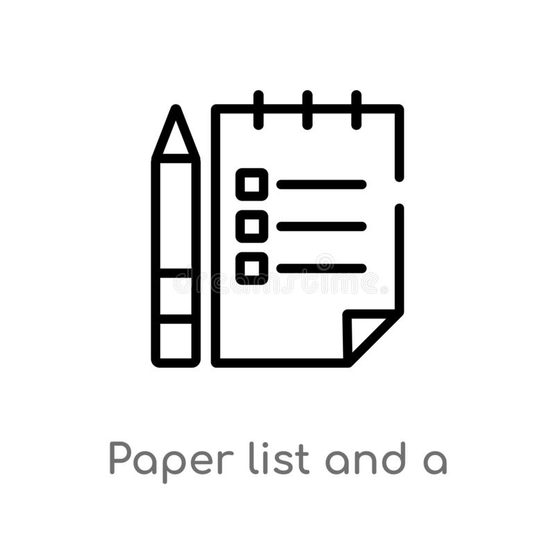 概述纸名单和铅笔传染媒介象 被隔绝的黑简单的从其他概念的线元例证 编辑可能的传染媒介 皇族释放例证