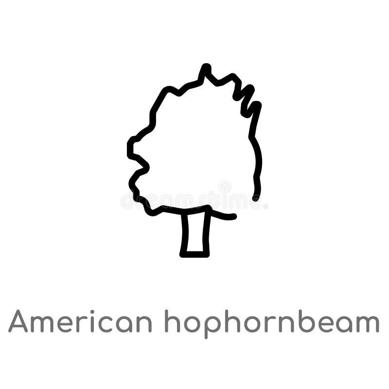概述美国hophornbeam树传染媒介象 被隔绝的黑简单的从自然概念的线元例证 编辑可能 库存例证