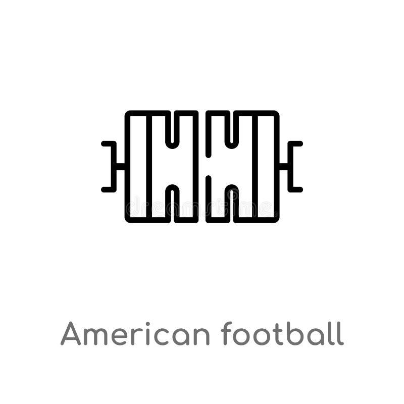 概述美式足球橄榄球场顶视图传染媒介象 被隔绝的黑简单的从美式足球的线元例证 库存例证