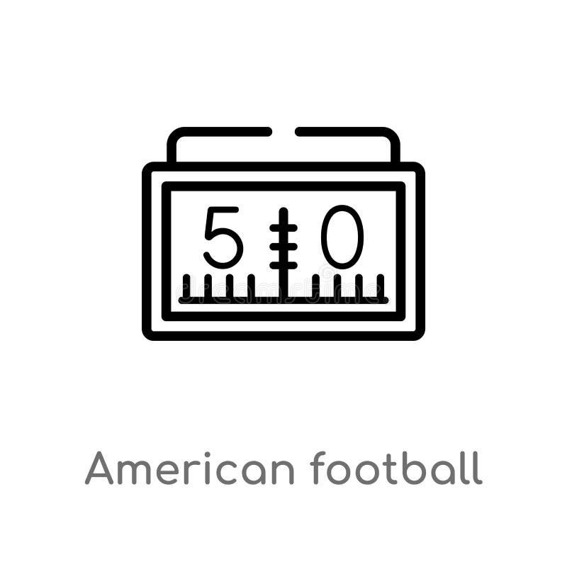 概述美式足球比分数字传染媒介象 被隔绝的黑简单的从美式足球的线元例证 皇族释放例证