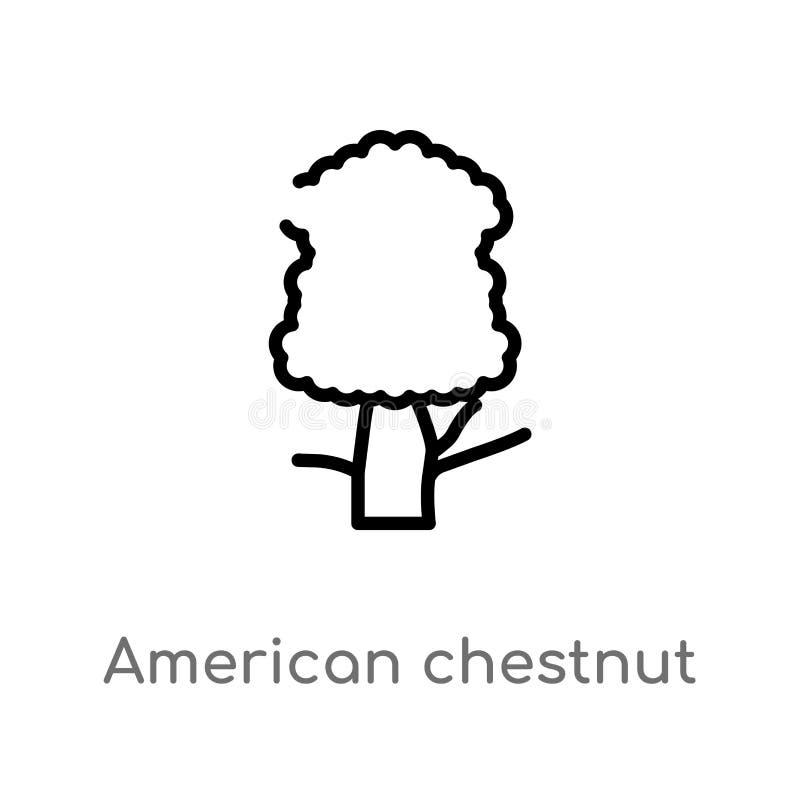 概述美洲栗树传染媒介象 被隔绝的黑简单的从自然概念的线元例证 编辑可能的传染媒介 库存例证