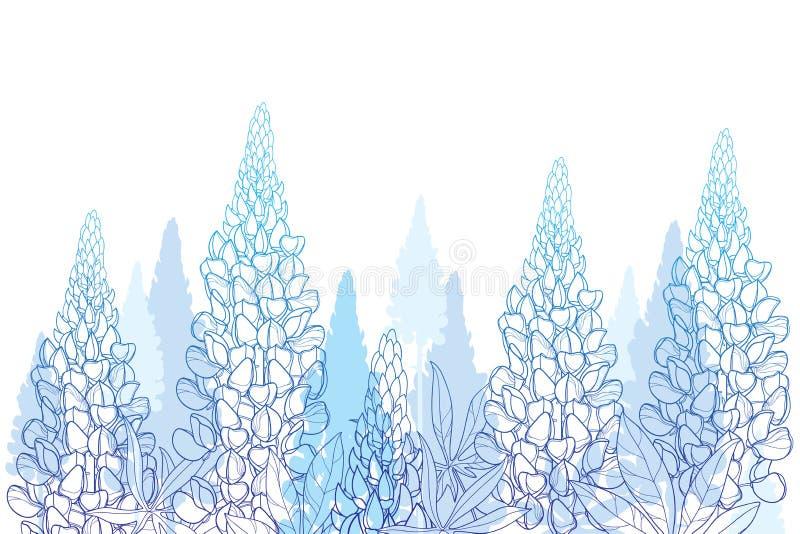 概述羽扇豆或羽扇豆或者得克萨斯矢车菊的向量场花束、芽和华丽叶子在白色隔绝的淡色蓝色 库存例证