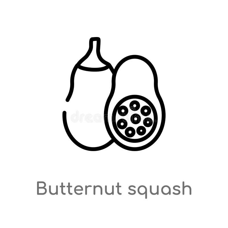 概述胡桃南瓜传染媒介象 被隔绝的黑简单的从美食术概念的线元例证 编辑可能的传染媒介 皇族释放例证
