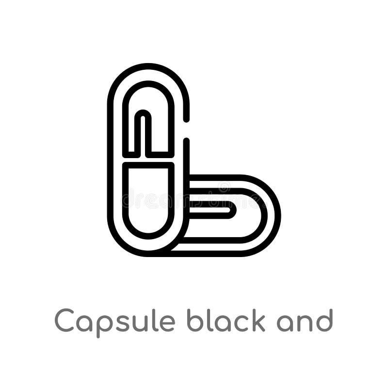 概述胶囊黑白不同的传染媒介象 被隔绝的黑简单的从人体零件概念的线元例证 库存例证