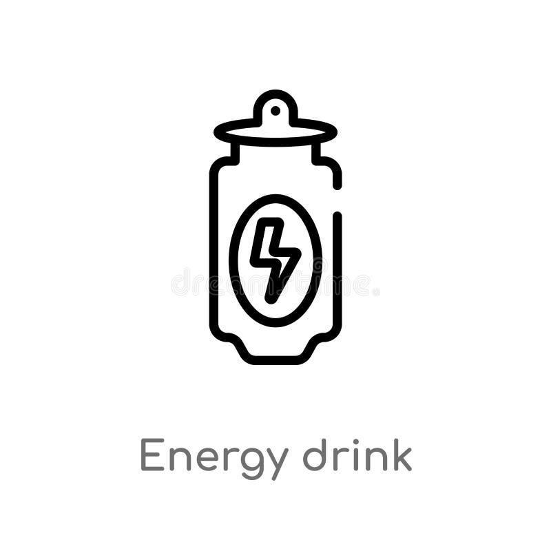 概述能量饮料传染媒介象 被隔绝的黑简单的从饮料概念的线元例证 编辑可能的传染媒介冲程 皇族释放例证