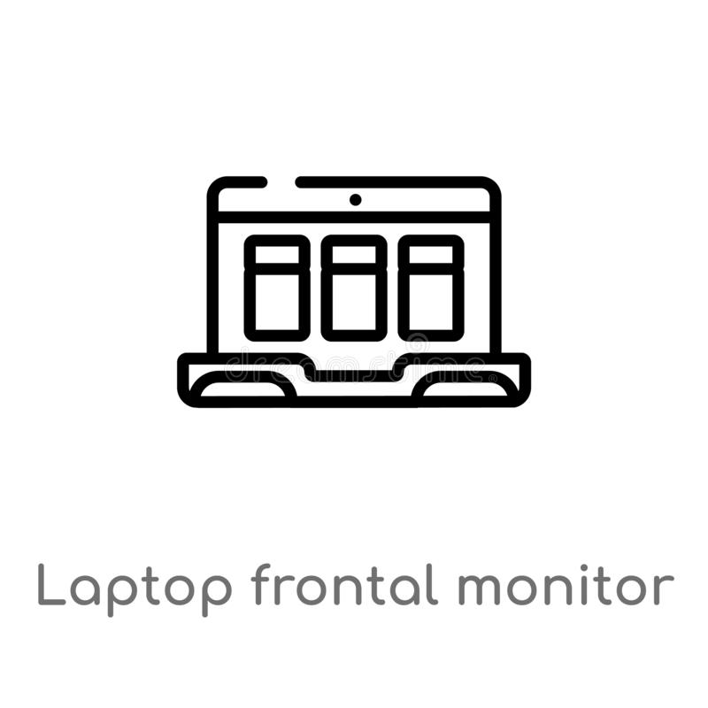 概述膝上型计算机前面显示器传染媒介象 被隔绝的黑简单的从技术概念的线元例证 r 皇族释放例证