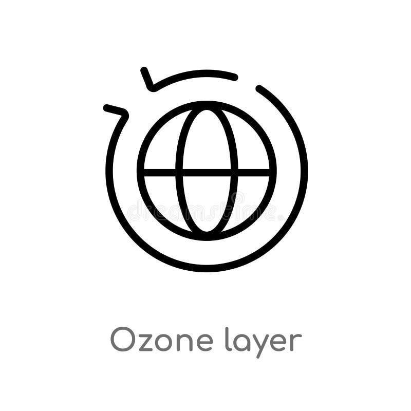 概述臭氧层传染媒介象 被隔绝的黑简单的从生态概念的线元例证 编辑可能的传染媒介冲程 库存例证