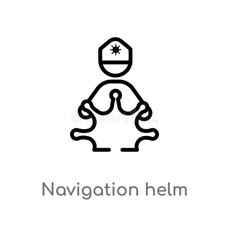 概述航海舵传染媒介象 被隔绝的黑简单的从人概念的线元例证 编辑可能的传染媒介冲程 向量例证
