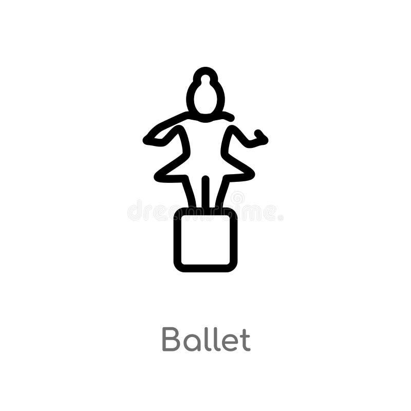概述芭蕾传染媒介象 被隔绝的黑简单的从博物馆概念的线元例证 编辑可能的传染媒介冲程芭蕾 皇族释放例证