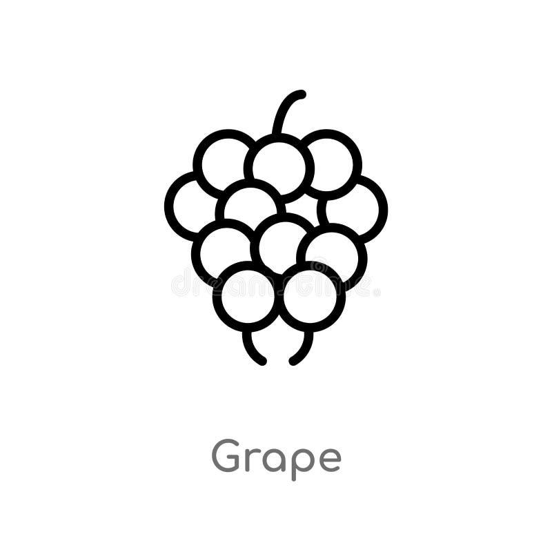 概述葡萄传染媒介象 被隔绝的黑简单的从果子概念的线元例证 编辑可能的传染媒介冲程葡萄象 向量例证