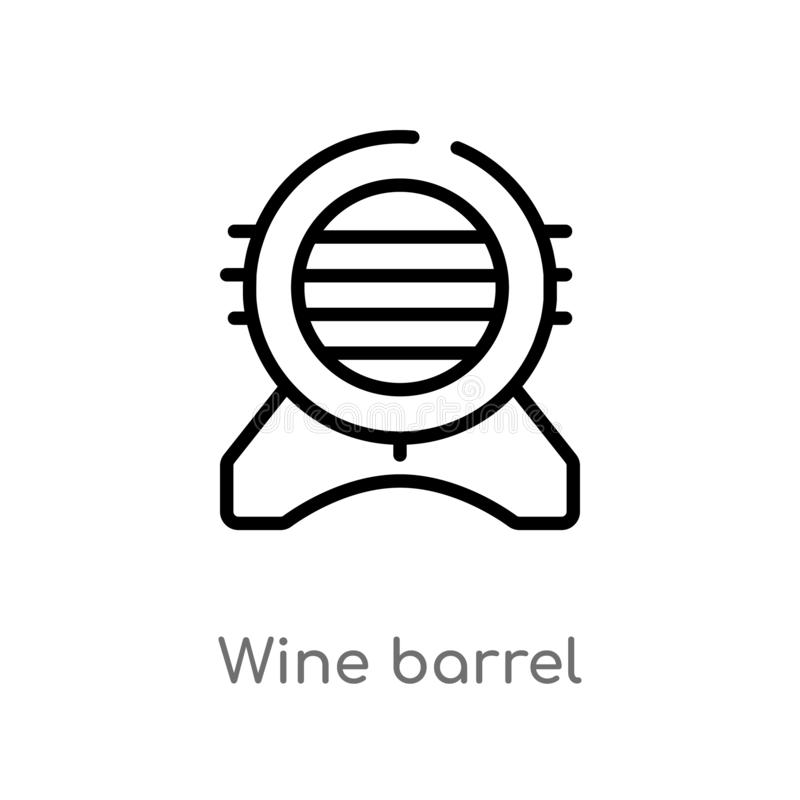 概述葡萄酒桶传染媒介象 被隔绝的黑简单的从酒精概念的线元例证 编辑可能的传染媒介冲程酒 皇族释放例证