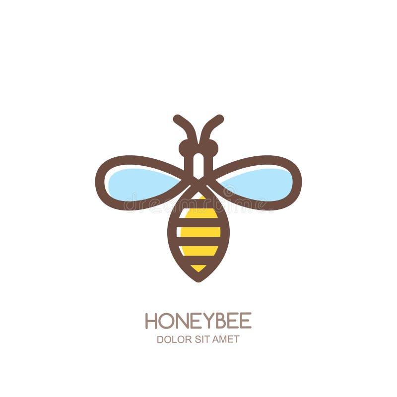 概述蜜蜂商标、象征或者象 在白色背景隔绝的线性蜂 皇族释放例证