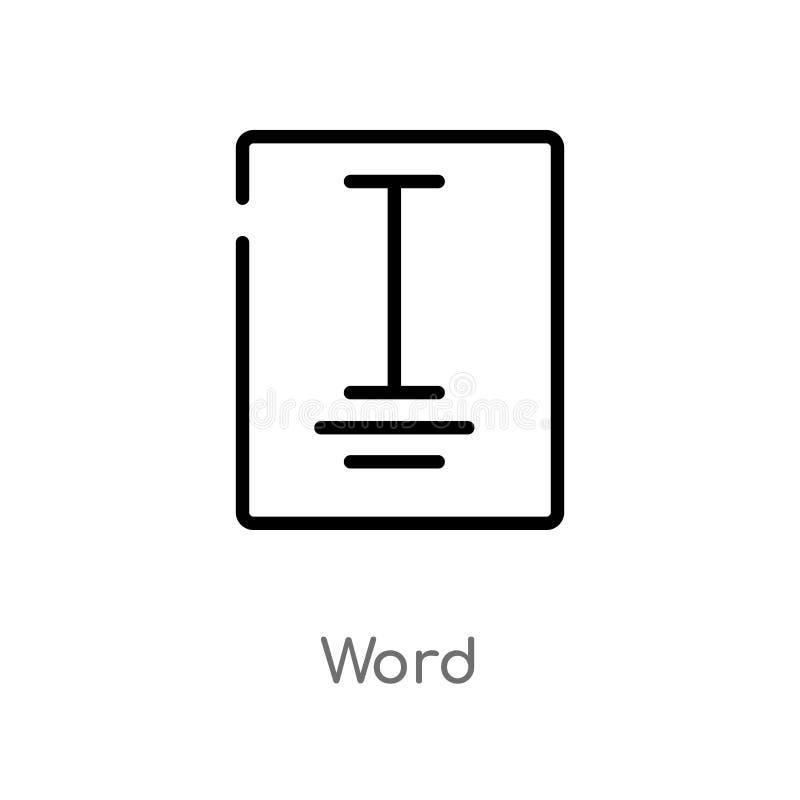 概述词传染媒介象 被隔绝的黑简单的从类别概念的线元例证 编辑可能的传染媒介冲程词象 向量例证