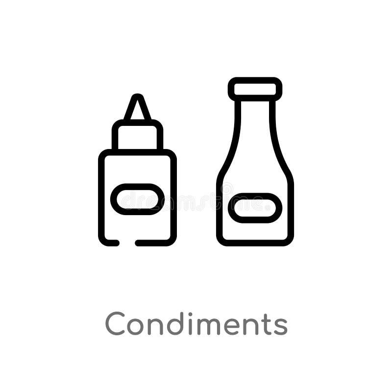 概述调味品导航象 被隔绝的黑简单的从食物概念的线元例证 编辑可能的传染媒介冲程 向量例证