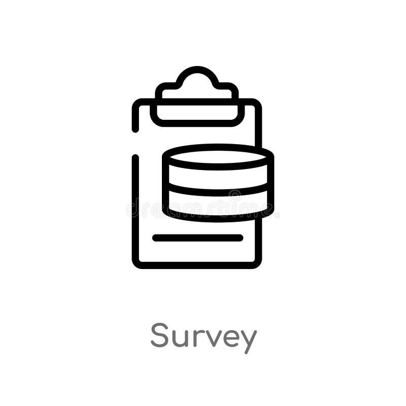 概述调查传染媒介象 被隔绝的黑简单的从大数据概念的线元例证 编辑可能的传染媒介冲程调查 库存例证