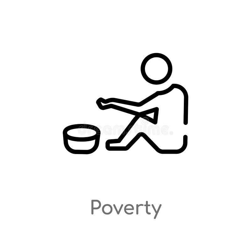 概述贫穷传染媒介象 被隔绝的黑简单的从普通概念的线元例证 编辑可能的传染媒介冲程贫穷 皇族释放例证