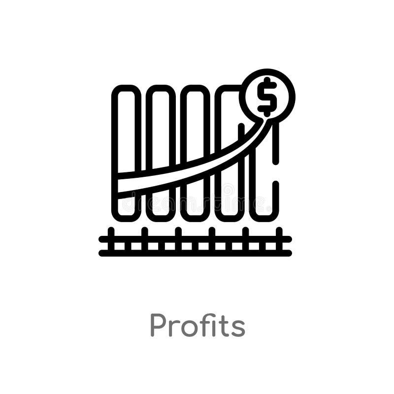 概述赢利导航象 被隔绝的黑简单的从数字经济概念的线元例证 编辑可能的传染媒介冲程 向量例证