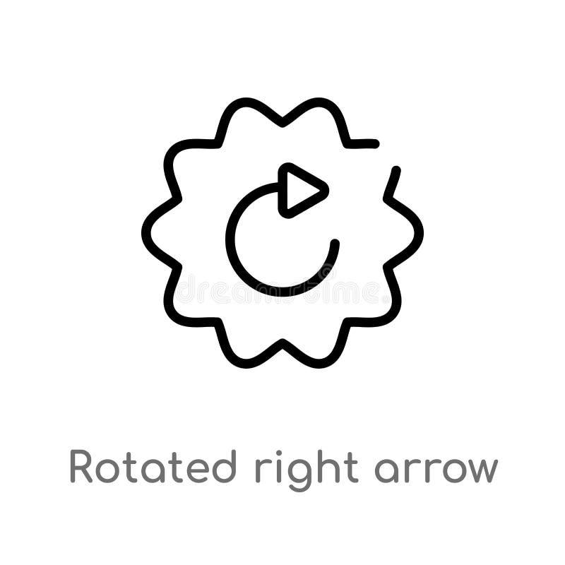 概述转动了右箭头传染媒介象 被隔绝的黑简单的从用户界面概念的线元例证 编辑可能 向量例证