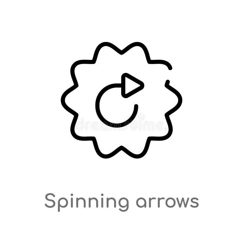 概述转动的箭头传染媒介象 被隔绝的黑简单的从用户界面概念的线元例证 编辑可能的传染媒介 库存例证
