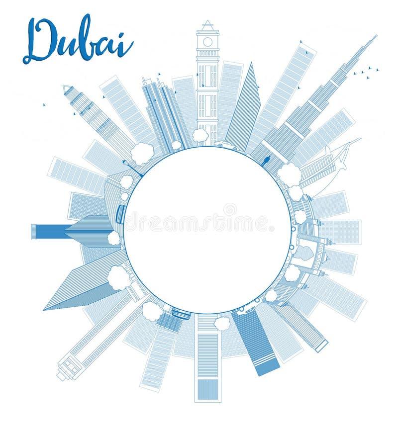 概述迪拜与蓝色摩天大楼的市地平线并且复制空间 库存例证