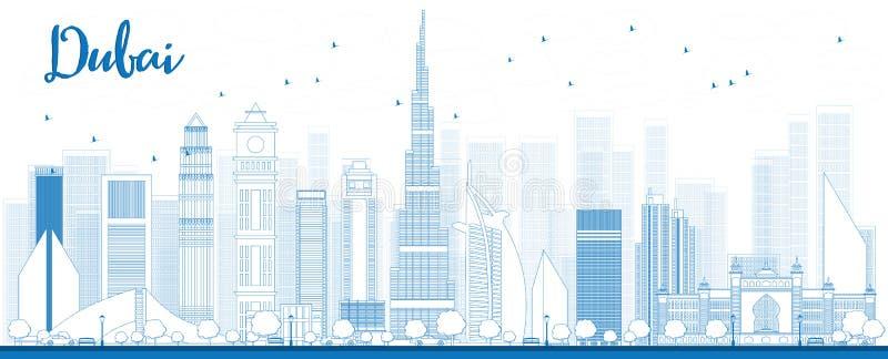 概述迪拜与蓝色摩天大楼的市地平线 库存例证