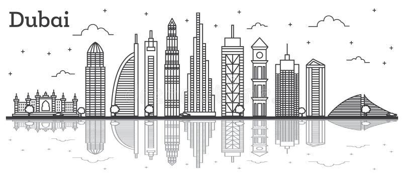 概述迪拜阿拉伯联合酋长国与现代大厦的市地平线并且反射 库存例证