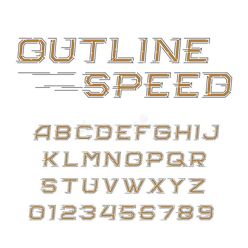 概述速度字母表字体 倾斜信件和数字在线型 库存例证