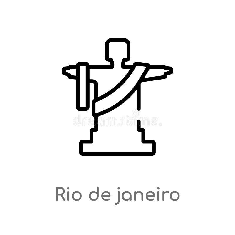 概述里约热内卢传染媒介象 被隔绝的黑简单的从文化概念的线元例证 编辑可能的传染媒介冲程 皇族释放例证