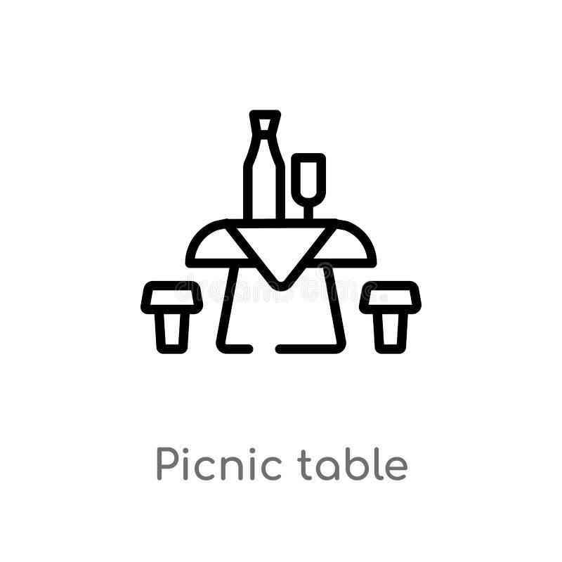 概述野餐桌传染媒介象 被隔绝的黑简单的从饮料概念的线元例证 编辑可能的传染媒介冲程 皇族释放例证