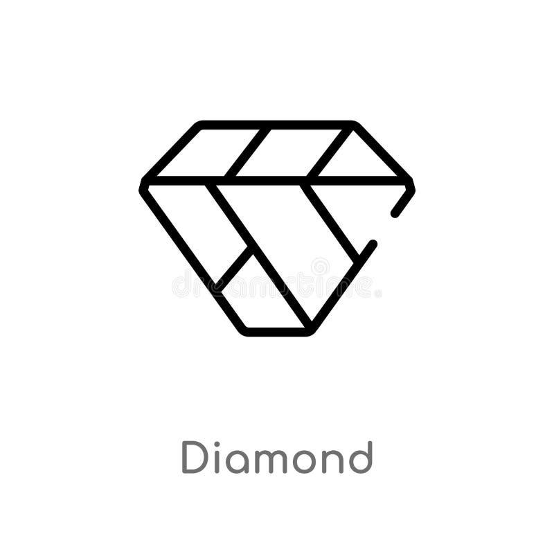 概述金刚石传染媒介象 被隔绝的黑简单的从时尚概念的线元例证 编辑可能的传染媒介冲程金刚石 向量例证