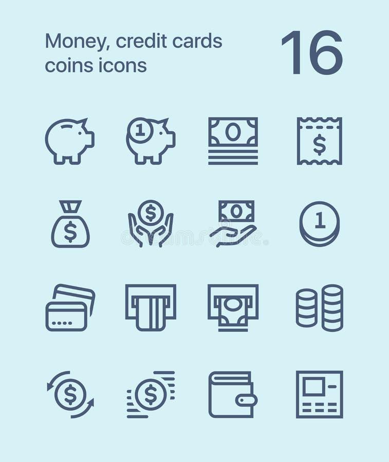 概述金钱、信用卡、硬币、钱包传染媒介平的线象网的和流动应用 库存照片