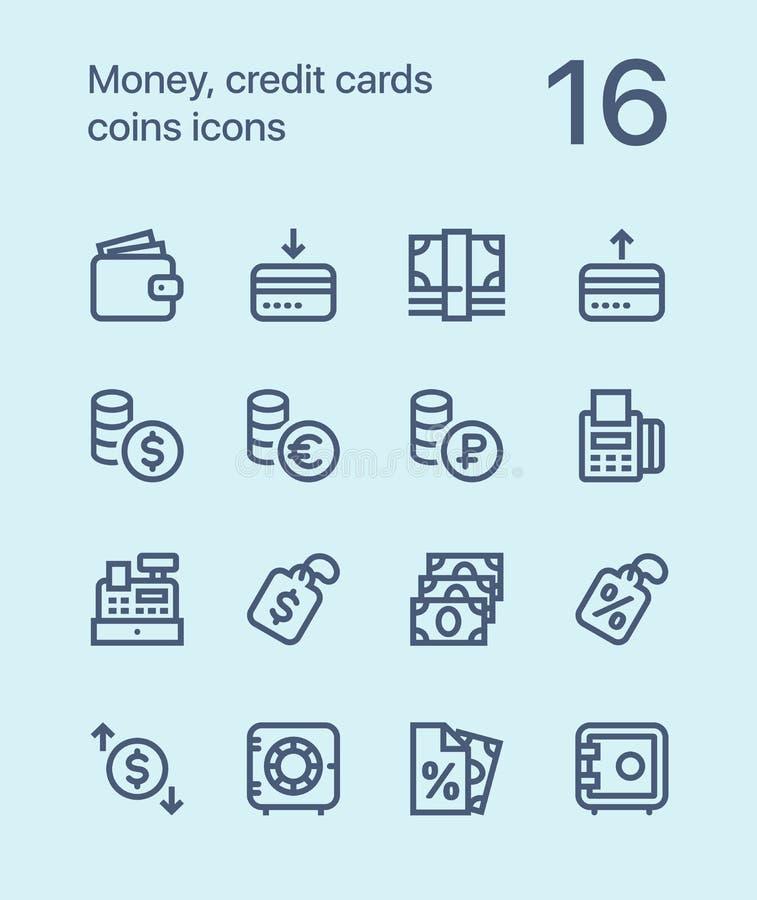 概述金钱、信用卡、硬币象网的和流动设计组装2 向量例证