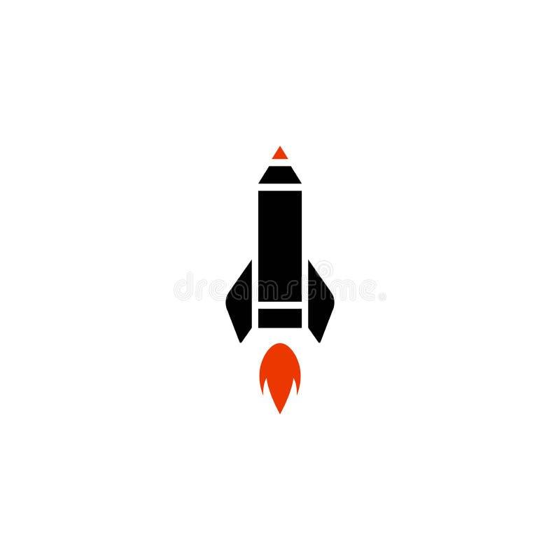 概述铅笔有火的火箭船 : 平的线象 库存例证