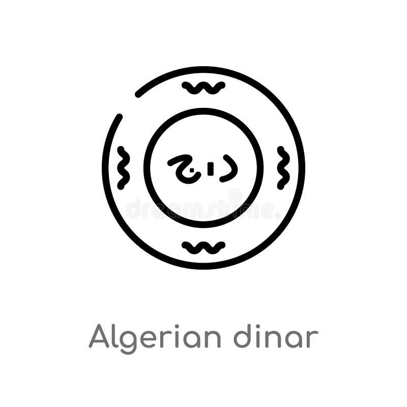 概述阿尔及利亚第纳尔传染媒介象 被隔绝的黑简单的从非洲概念的线元例证 编辑可能的传染媒介冲程 向量例证
