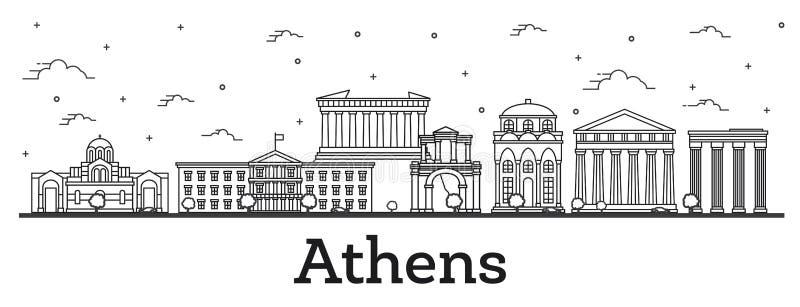 概述雅典希腊与在白色隔绝的历史大厦的市地平线 向量例证