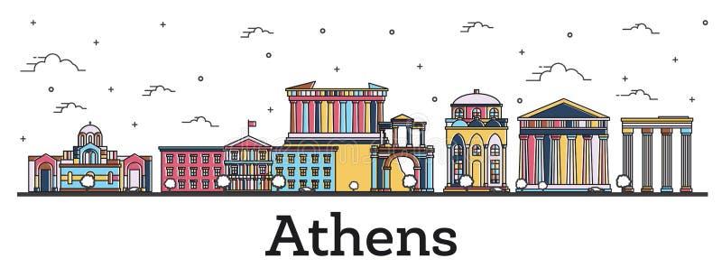 概述雅典希腊与在白色隔绝的颜色大厦的市地平线 库存例证