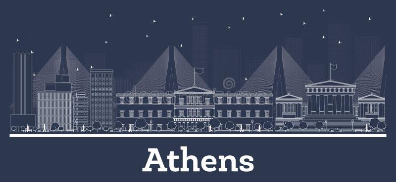 概述雅典希腊与白色大厦的市地平线 库存例证