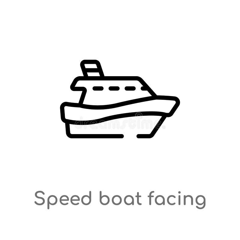 概述面对正确的传染媒介象的速度小船 被隔绝的黑简单的从船舶概念的线元例证 编辑可能 向量例证