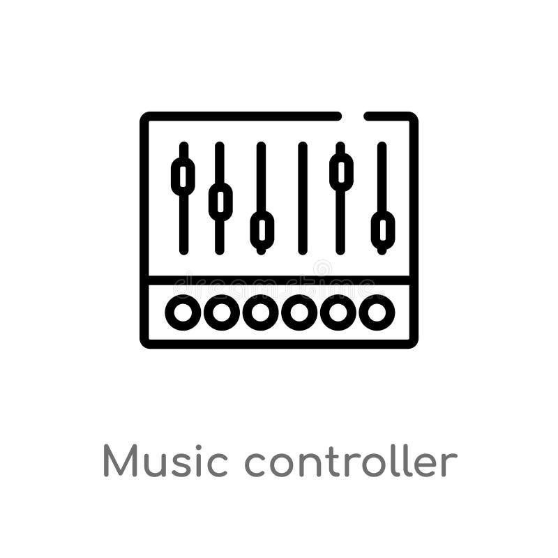概述音乐控制器传染媒介象 被隔绝的黑简单的从多媒体概念的线元例证 编辑可能的传染媒介 皇族释放例证