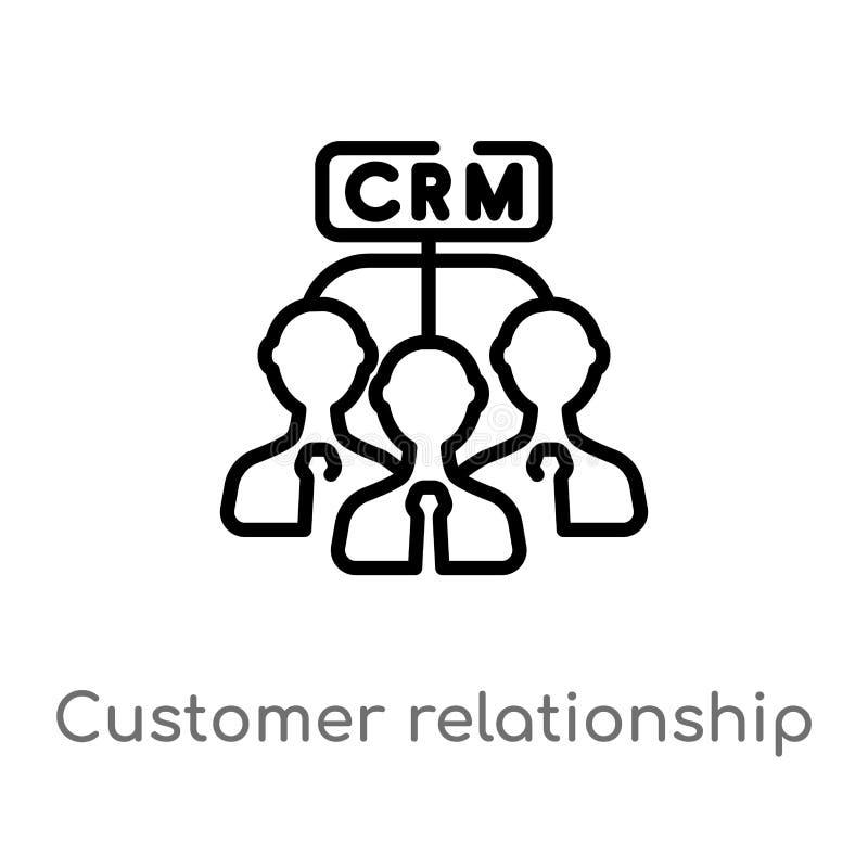 概述顾客关系管理传染媒介象 被隔绝的黑简单的从企业概念的线元例证 向量例证